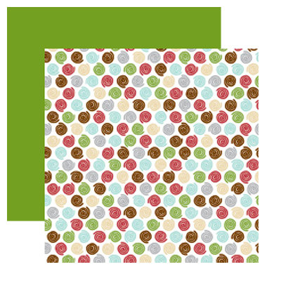 American Crafts - Merrymint Collection - Christmas - 12 x 12 Double Sided Paper with Foil Accents - Cinnamon Roll