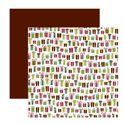 American Crafts - Merrymint Collection - Christmas - 12 x 12 Double Sided Paper with Foil Accents - Peanut Brittle, CLEARANCE