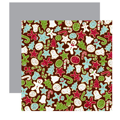 American Crafts - Merrymint Collection - Christmas - 12 x 12 Double Sided Paper with Glitter Accents - Milk and Cookies, CLEARANCE