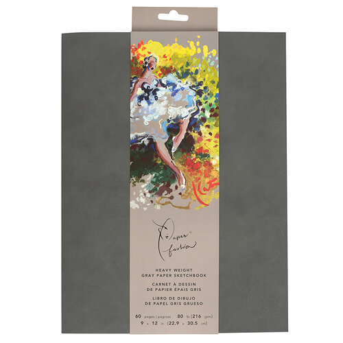 American Crafts - Paper Fashion Collection - Drawing Sketchbook - Heavy Weight Paper - 9 x 12 - Gray - 60 Pages