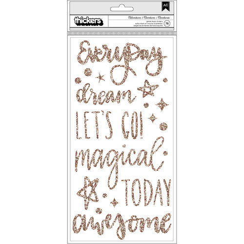 American Crafts - Head in The Clouds Collection - Thickers - Foam - Phrase - Rose Gold Glitter