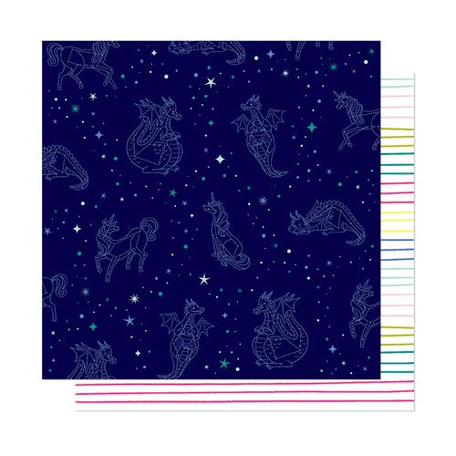 American Crafts - Head in The Clouds Collection - 12 x 12 Double Sided Paper - Look To The Stars