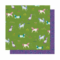 American Crafts - Head in The Clouds Collection - 12 x 12 Double Sided Paper - Unicorn Crossing