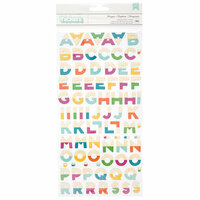 American Crafts - New Day Collection - Thickers - Printed Chipboard - Bonjour - Alpha