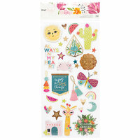 American Crafts - New Day Collection - Chipboard Stickers with Foil Accents