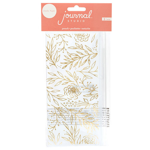 Crate Paper - Journal Studio Collection - Pouch with Foil Accents - Gold Floral