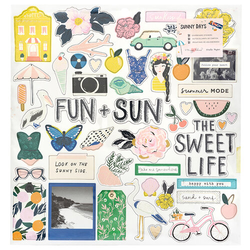 Crate Paper - Sunny Days Collection - 12 x 12 Chipboard Stickers with Foil Accents