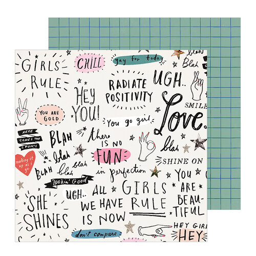 Crate Paper - All Heart Collection - 12 x 12 Double Sided Paper - Go Girl
