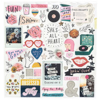 Crate Paper - All Heart Collection - 12 x 12 Chipboard Stickers with Glitter Accents