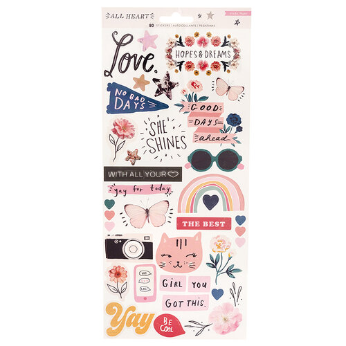 Crate Paper - All Heart Collection - Cardstock Stickers with Iridescent Accents