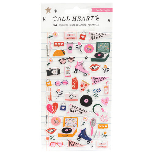 Crate Paper - All Heart Collection - Puffy Stickers