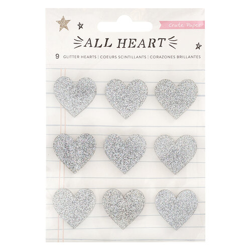 Crate Paper - All Heart Collection - Stickers - Acrylic with Glitter accents - Glitter Hearts
