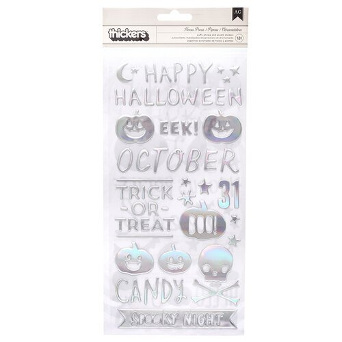 Crate Paper - Hey Pumpkin Collection - Thickers - Phrase - Glossy Puffy with Holographic Foil Accents