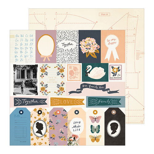 Crate Paper - Heritage Collection - 12 x 12 Double Sided Paper - Recollection