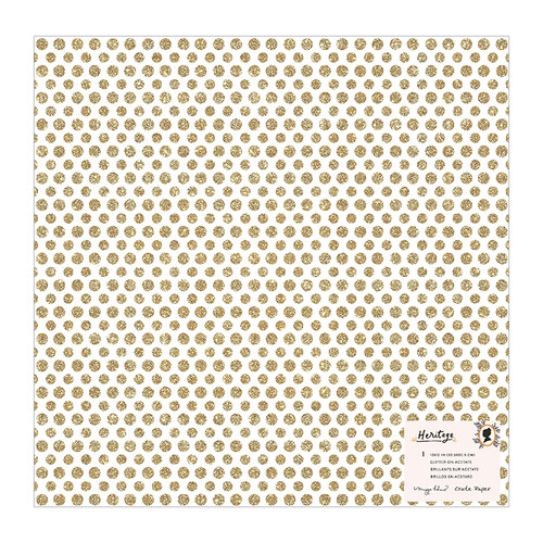 Crate Paper - Heritage Collection - 12 x 12 Specialty Paper - Gratitude with Gold Glitter Accents