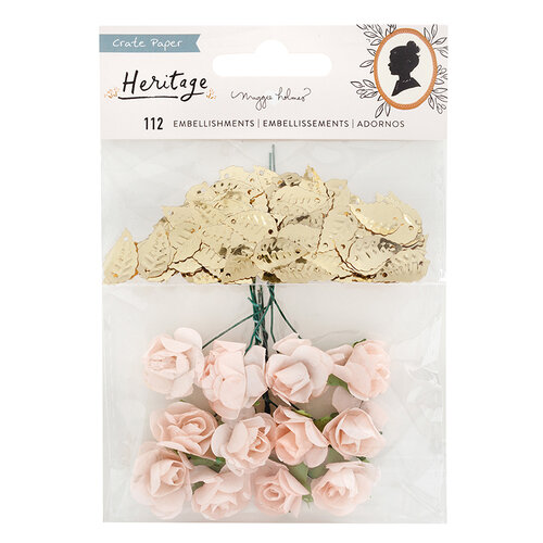 Crate Paper - Heritage Collection - Paper Flowers and Gold Leaf Sequins
