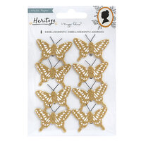 Crate Paper - Heritage Collection - Butterflies with Gold Glitter Accents
