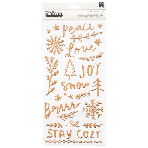 Crate Paper - Snowflake Collection - Thickers - Chill - Puffy Phrase and Icon with Foil Accents