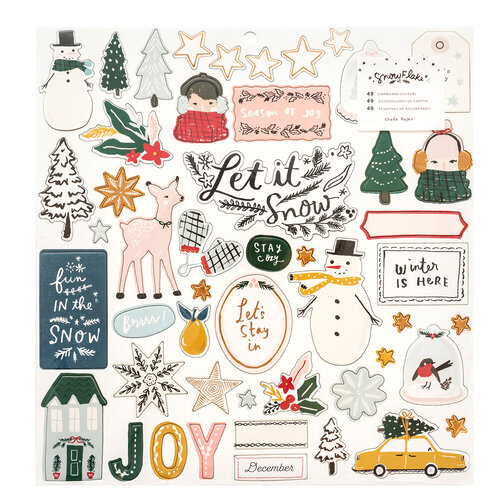 Crate Paper - Snowflake Collection - 12 x 12 Chipboard Stickers with Foil Accents