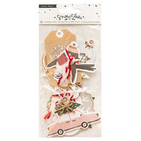 Crate Paper - Snowflake Collection - Embellishments - Layered Tags with Glitter Accents