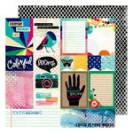 American Crafts - Color Kaleidoscope Collection - 12 x 12 Double Sided Paper - Beyond Words