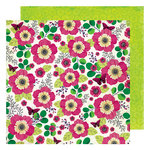 American Crafts - Color Kaleidoscope Collection - 12 x 12 Double Sided Paper - Flower Shop