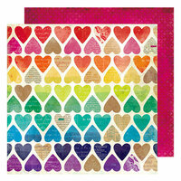 American Crafts - Color Kaleidoscope Collection - 12 x 12 Double Sided Paper - Paper Hearts