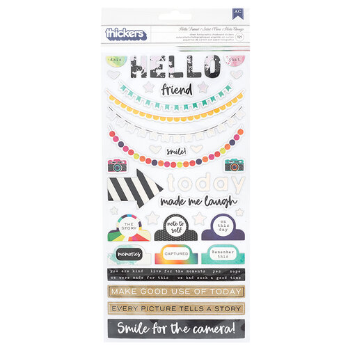 American Crafts - Color Kaleidoscope Collection - Thickers - Chipboard - Silver Holographic Foil - Phrases and Icons - Hello Friend