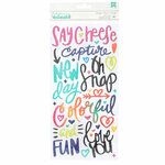 American Crafts - Color Kaleidoscope Collection - Thickers - Puffy - Phrases and Icons - Colorful