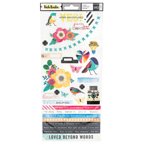 American Crafts - Color Kaleidoscope Collection - Cardstock Stickers with Foil Accents - Accents and Phrases