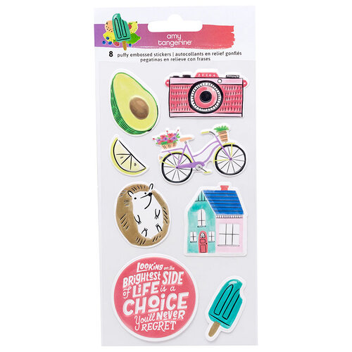 American Crafts - Stay Sweet Collection - Puffy Stickers with Embossed Accents