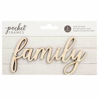 American Crafts - Details 2 Enjoy Collection - Pocket Frames - Laser Cut Words - Family