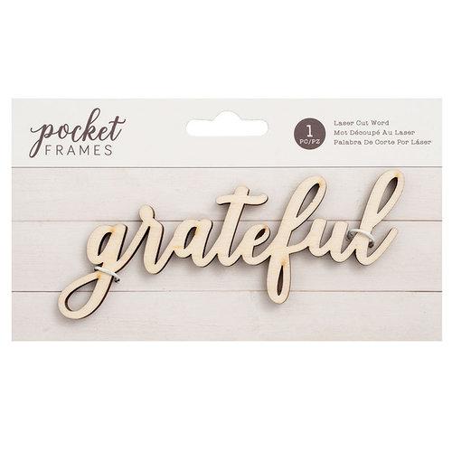 American Crafts - Details 2 Enjoy Collection - Pocket Frames - Laser Cut Words - Grateful