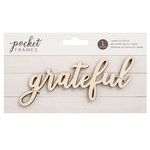 American Crafts - Details 2 Enjoy Collection - Pocket Frames - Laser Cut Words - Grateful