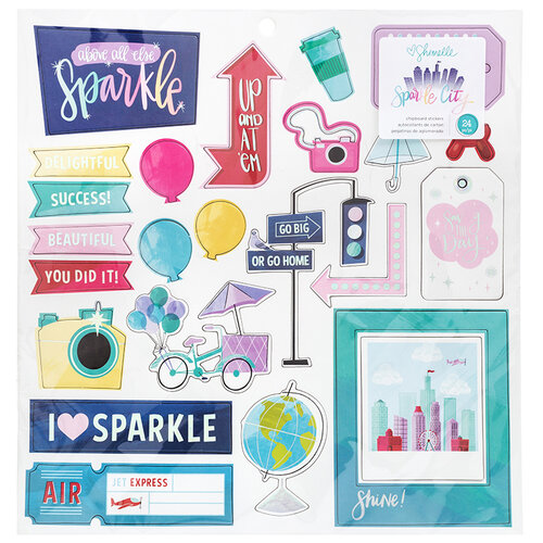 American Crafts - Sparkle City Collection - Chipboard Stickers with Foil Accents