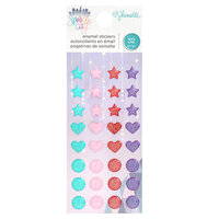 American Crafts - Sparkle City Collection - Enamel Dots with Glitter Accents