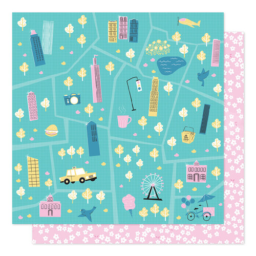 American Crafts - Sparkle City Collection - 12 x 12 Double Sided Paper - Tour Guide