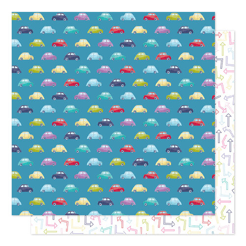 American Crafts - Sparkle City Collection - 12 x 12 Double Sided Paper - Traffic Jam