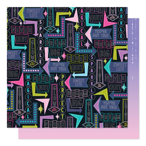American Crafts - Sparkle City Collection - 12 x 12 Double Sided Paper - Shine All Day