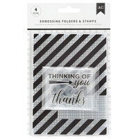 American Crafts - Embossing Folders and Clear Acrylic Stamp Sets - Thankful Thinking