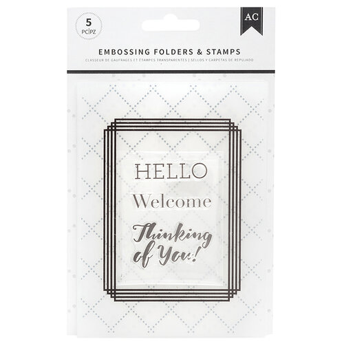 American Crafts - Embossing Folders and Clear Acrylic Stamp Sets - Welcome