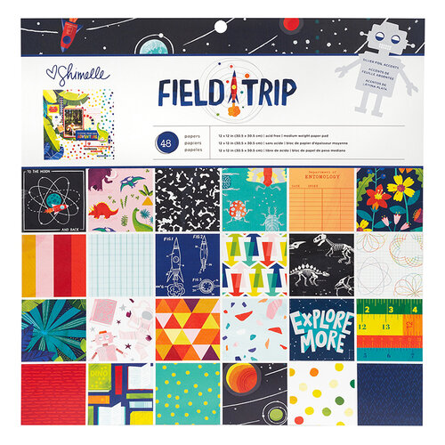 American Crafts - Field Trip Collection - 12 x 12 Paper Pad with Matte Silver Foil Accents