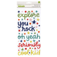 American Crafts - Field Trip Collection - Thickers - Puffy - Phrase - Genius
