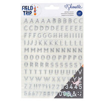 American Crafts - Field Trip Collection - Alphabet Puffy Stickers with Matte Silver Foil Accents