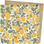 American Crafts - Wildflower and Honey Collection - 12 x 12 Double Sided Paper - Lemon Spritz