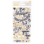 American Crafts - Wildflower and Honey Collection - Thickers - Phrases - Gold Foil