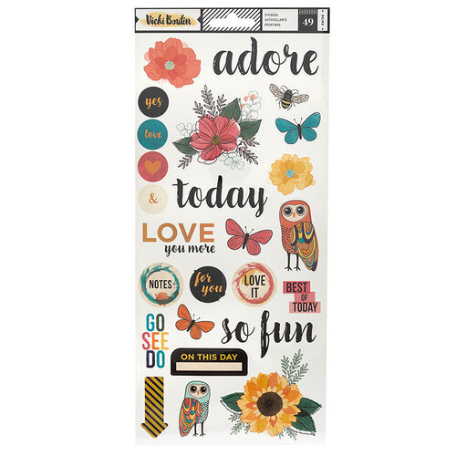 American Crafts - Wildflower and Honey Collection - Cardstock Sticker Sheets with Holographic Gold Foil Accents