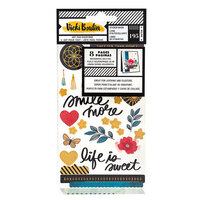 American Crafts - Wildflower and Honey Collection - Cardstock Sticker Book with Holographic Gold Foil Accents