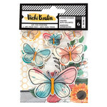 American Crafts - Wildflower and Honey Collection - Layered Butterfly Stickers with Holographic Gold Foil Accents