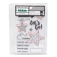 American Crafts - Let's Wander Collection - Stamps and Dies Set - Let's Go